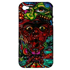 Abstract Psychedelic Face Nightmare Eyes Font Horror Fantasy Artwork Apple Iphone 4/4s Hardshell Case (pc+silicone)