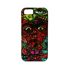 Abstract Psychedelic Face Nightmare Eyes Font Horror Fantasy Artwork Apple iPhone 5 Classic Hardshell Case (PC+Silicone)