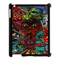 Abstract Psychedelic Face Nightmare Eyes Font Horror Fantasy Artwork Apple Ipad 3/4 Case (black)