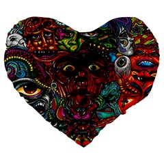 Abstract Psychedelic Face Nightmare Eyes Font Horror Fantasy Artwork Large 19  Premium Heart Shape Cushions