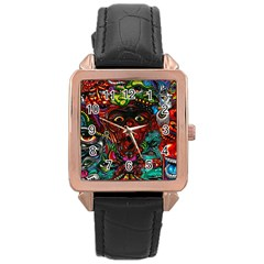 Abstract Psychedelic Face Nightmare Eyes Font Horror Fantasy Artwork Rose Gold Leather Watch