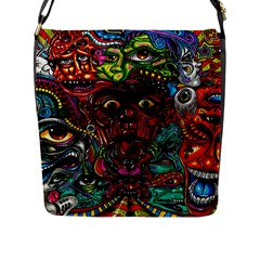 Abstract Psychedelic Face Nightmare Eyes Font Horror Fantasy Artwork Flap Messenger Bag (l)