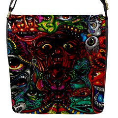 Abstract Psychedelic Face Nightmare Eyes Font Horror Fantasy Artwork Flap Messenger Bag (s)