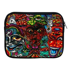 Abstract Psychedelic Face Nightmare Eyes Font Horror Fantasy Artwork Apple Ipad 2/3/4 Zipper Cases
