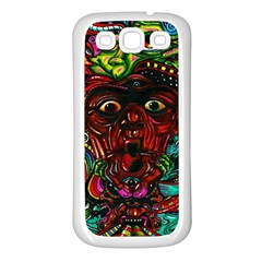 Abstract Psychedelic Face Nightmare Eyes Font Horror Fantasy Artwork Samsung Galaxy S3 Back Case (white)