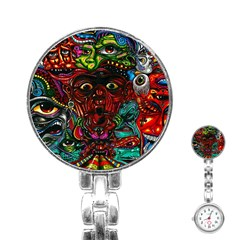 Abstract Psychedelic Face Nightmare Eyes Font Horror Fantasy Artwork Stainless Steel Nurses Watch