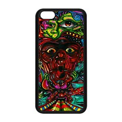 Abstract Psychedelic Face Nightmare Eyes Font Horror Fantasy Artwork Apple Iphone 5c Seamless Case (black)