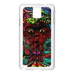 Abstract Psychedelic Face Nightmare Eyes Font Horror Fantasy Artwork Samsung Galaxy Note 3 N9005 Case (white)