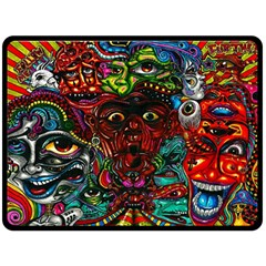 Abstract Psychedelic Face Nightmare Eyes Font Horror Fantasy Artwork Double Sided Fleece Blanket (large)