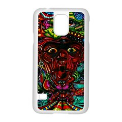 Abstract Psychedelic Face Nightmare Eyes Font Horror Fantasy Artwork Samsung Galaxy S5 Case (white)