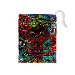 Abstract Psychedelic Face Nightmare Eyes Font Horror Fantasy Artwork Drawstring Pouches (medium)