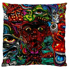 Abstract Psychedelic Face Nightmare Eyes Font Horror Fantasy Artwork Large Flano Cushion Case (one Side)