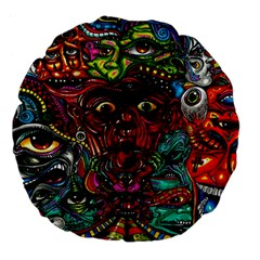 Abstract Psychedelic Face Nightmare Eyes Font Horror Fantasy Artwork Large 18  Premium Flano Round Cushions