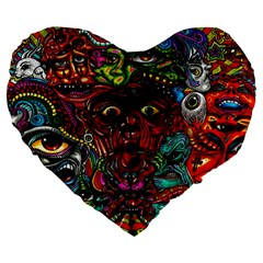 Abstract Psychedelic Face Nightmare Eyes Font Horror Fantasy Artwork Large 19  Premium Flano Heart Shape Cushions