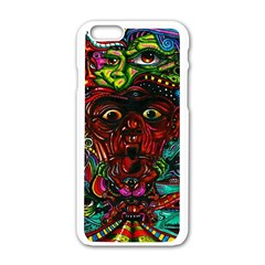 Abstract Psychedelic Face Nightmare Eyes Font Horror Fantasy Artwork Apple Iphone 6/6s White Enamel Case