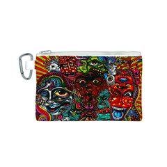 Abstract Psychedelic Face Nightmare Eyes Font Horror Fantasy Artwork Canvas Cosmetic Bag (s)