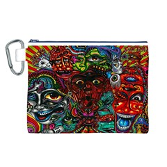 Abstract Psychedelic Face Nightmare Eyes Font Horror Fantasy Artwork Canvas Cosmetic Bag (l)