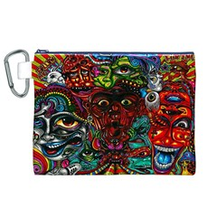 Abstract Psychedelic Face Nightmare Eyes Font Horror Fantasy Artwork Canvas Cosmetic Bag (xl)