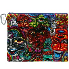 Abstract Psychedelic Face Nightmare Eyes Font Horror Fantasy Artwork Canvas Cosmetic Bag (XXXL)