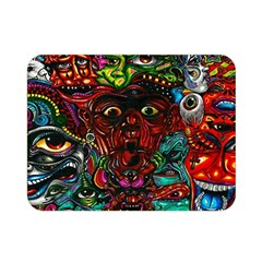 Abstract Psychedelic Face Nightmare Eyes Font Horror Fantasy Artwork Double Sided Flano Blanket (mini)