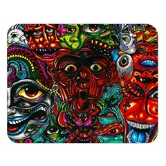 Abstract Psychedelic Face Nightmare Eyes Font Horror Fantasy Artwork Double Sided Flano Blanket (large)