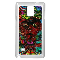 Abstract Psychedelic Face Nightmare Eyes Font Horror Fantasy Artwork Samsung Galaxy Note 4 Case (White)