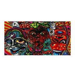 Abstract Psychedelic Face Nightmare Eyes Font Horror Fantasy Artwork Satin Wrap