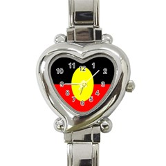Flag Of Australian Aborigines Heart Italian Charm Watch