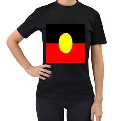 Flag Of Australian Aborigines Women s T-Shirt (Black) (Two Sided)
