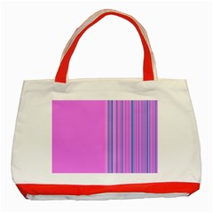 Lines Classic Tote Bag (red)