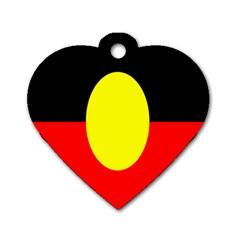 Flag Of Australian Aborigines Dog Tag Heart (one Side)