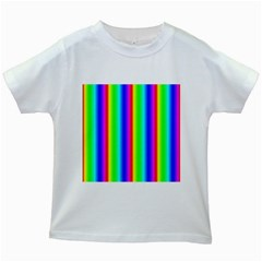Rainbow Gradient Kids White T Shirts