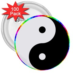 Rainbow Around Yinyang 3  Buttons (100 Pack)