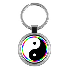 Rainbow Around Yinyang Key Chains (round)