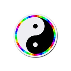 Rainbow Around Yinyang Rubber Coaster (Round)
