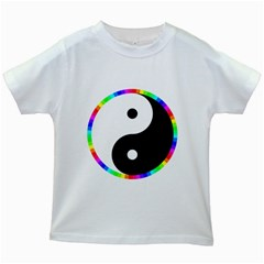 Rainbow Around Yinyang Kids White T Shirts