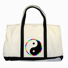 Rainbow Around Yinyang Two Tone Tote Bag