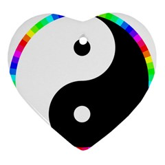 Rainbow Around Yinyang Heart Ornament (Two Sides)