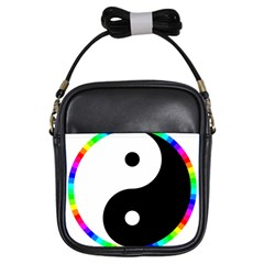 Rainbow Around Yinyang Girls Sling Bags