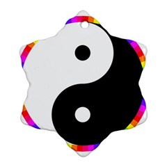 Rainbow Around Yinyang Snowflake Ornament (two Sides)