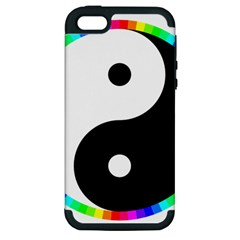 Rainbow Around Yinyang Apple Iphone 5 Hardshell Case (pc+silicone)