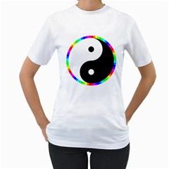 Rainbow Around Yinyang Women s T-Shirt (White)