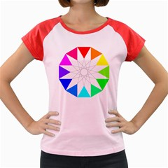 Rainbow Dodecagon And Black Dodecagram Women s Cap Sleeve T Shirt