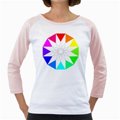 Rainbow Dodecagon And Black Dodecagram Girly Raglans