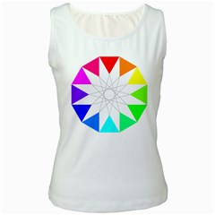 Rainbow Dodecagon And Black Dodecagram Women s White Tank Top