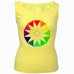 Rainbow Dodecagon And Black Dodecagram Women s Yellow Tank Top