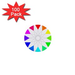 Rainbow Dodecagon And Black Dodecagram 1  Mini Buttons (100 pack)
