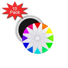 Rainbow Dodecagon And Black Dodecagram 1 75  Magnets (10 Pack)