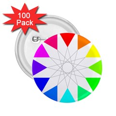 Rainbow Dodecagon And Black Dodecagram 2 25  Buttons (100 Pack)