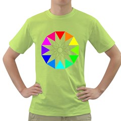 Rainbow Dodecagon And Black Dodecagram Green T Shirt